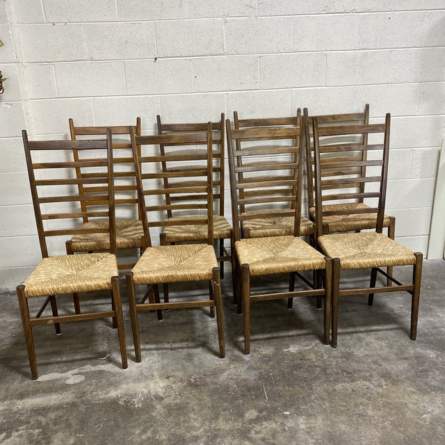 Mid Century Italian Gio Ponte Style Ladder Back Chairs - Set of 8 For Sale - Image 13 of 13