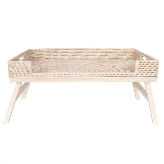Artifacts Rattan Breakfast Tray/Table - White Wash For Sale In Houston - Image 6 of 6