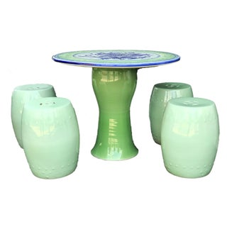 """Chinoiserie Celadon Table W/ Garden Stools, 28"""" H by 34"""" D Preview"""