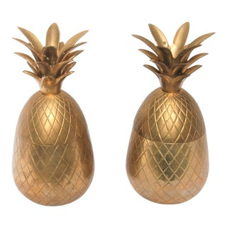 Mid-Century Brass Pineapple Candleholders - A Pair For Sale