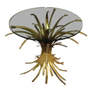 Mid-Century Modern Sheaf of Wheat Gilt Metal Table For Sale