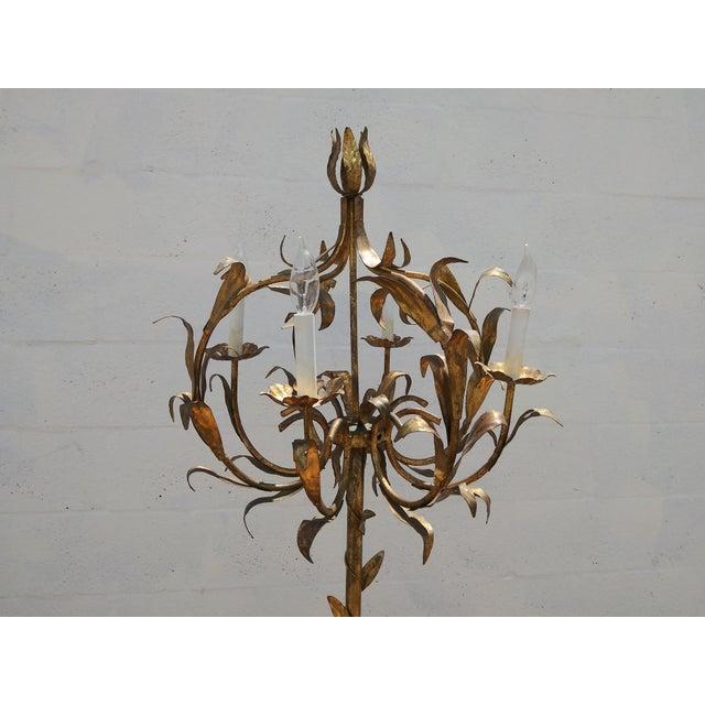 1950's Italian Florentine Gilt Tole Floral 4 Arm Floor Lamp For Sale - Image 11 of 12