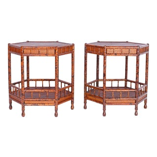 Faux Bamboo and Grasscloth Tables - A Pair For Sale