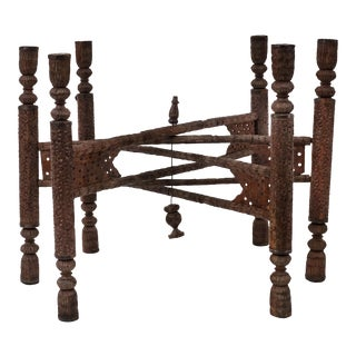 Asian Indian Style Walnut Carved 6 Legged Folding Table Base