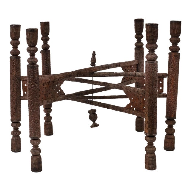 Asian Indian Style Walnut Carved 6 Legged Folding Table Base For Sale