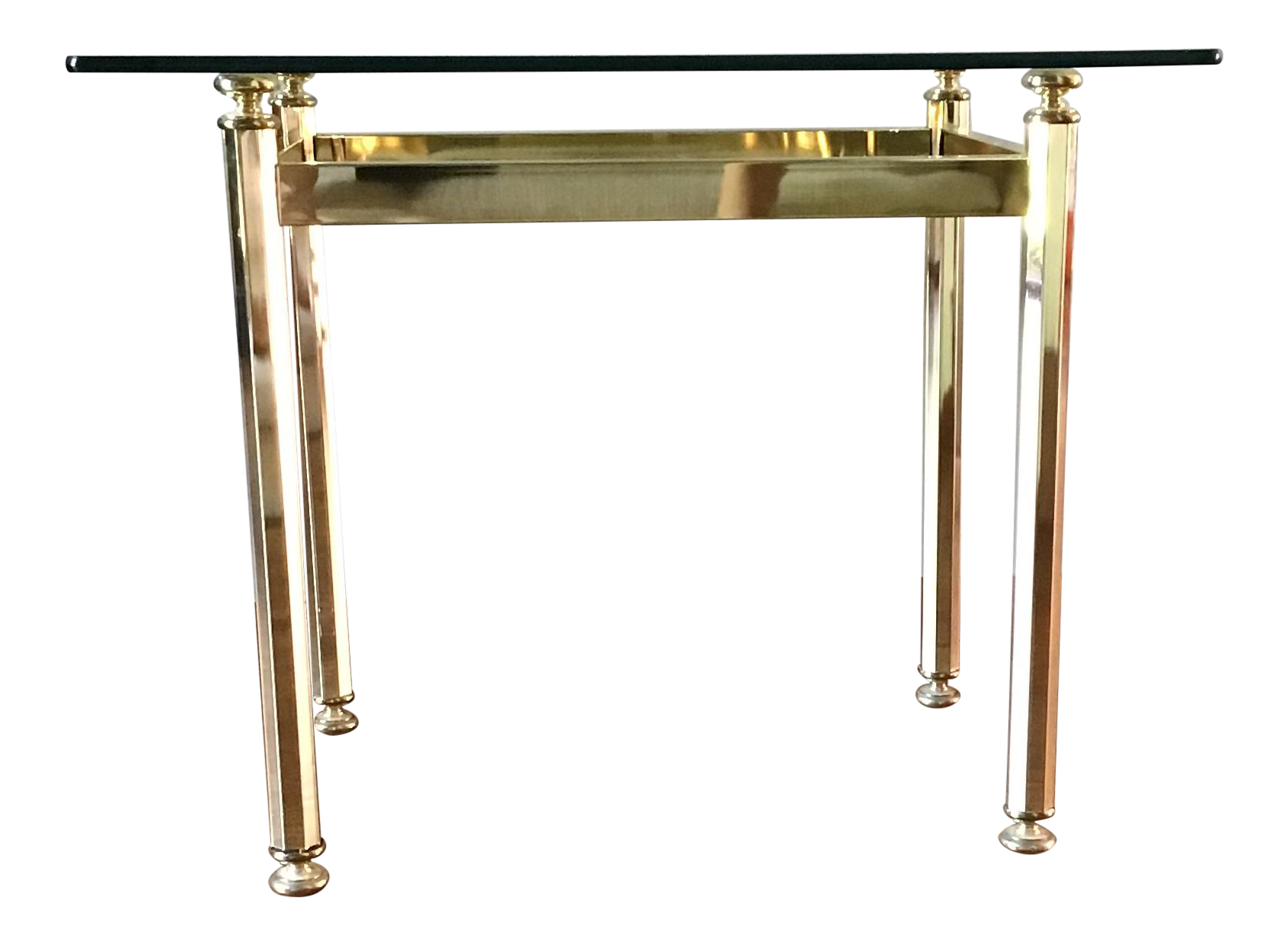 Image of: Vintage Mid Century Modern Brass And Glass Top Side Table Chairish