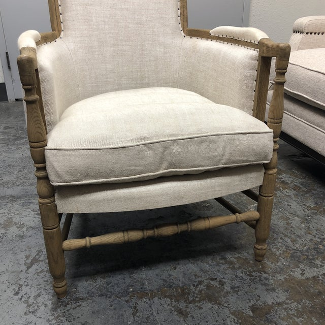 Tan Restoration Hardware 18th C. French Upholstered Bergere Chair For Sale - Image 8 of 13