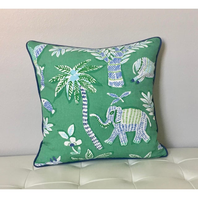Thibaut Goa in Green Designer Pillow Cover With Marine Blue Linen Piping For Sale In Tampa - Image 6 of 6