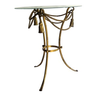 "1950s Italian Gold Leaf ""Rope"" Side Table For Sale"