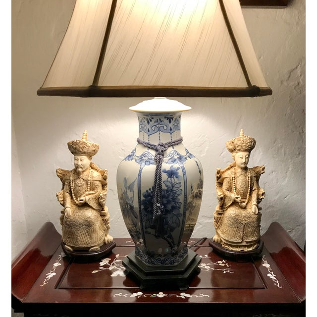 Vintage Chinese Faux Ivory Emperor and Empress Statues or Figures - a Pair, With Stands For Sale - Image 11 of 11