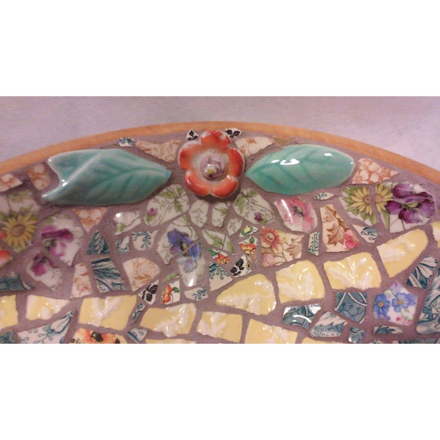 Hand Crafted Mosaic Footed Oval Bowl - Image 3 of 7