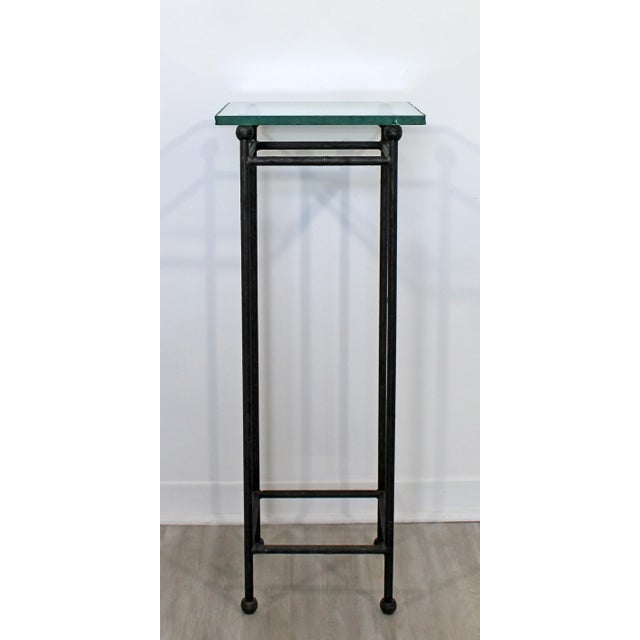 For your consideration is a gorgeous display stand or pedestal, made of steel and with a frosted glass top, circa the...