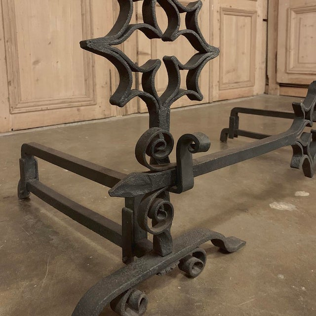 18th Century Grand Wrought Iron Andirons For Sale - Image 10 of 13