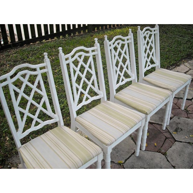 Vintage Faux Bamboo Dining Chairs - Set of 4 - Image 5 of 9