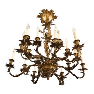 French Louis XV Antique Bronze 16 Light Chandelier For Sale