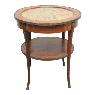 Grosfeld Marble Top Satinwood Inlaid Center Table For Sale