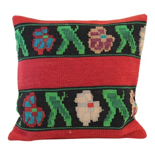"Turkish Vintage Red & Green Kilim Pillow Cover 20""x 20"" For Sale"
