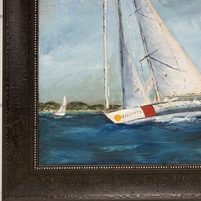 Nautical Antique Sailboat Painting Framed For Sale - Image 3 of 13