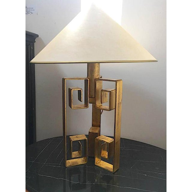 """Jean Royère Jean Royère Rarest Documented Gold Leaf Wrought Iron Table Lampe Model """"Pekin"""" For Sale - Image 4 of 4"""