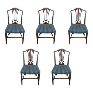 Antique Mahogany Dining Chairs - Set of 5 For Sale