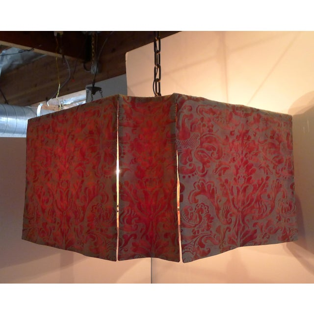 Modern Modern Draped Chandelier in Vintage Fortuny Fabric by Paul Marra For Sale - Image 3 of 11