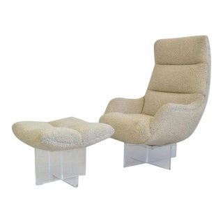 Vladimir Kagan Lucite Lounge Chair and Ottoman For Sale