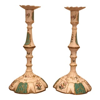 Antique Enamel Candlesticks