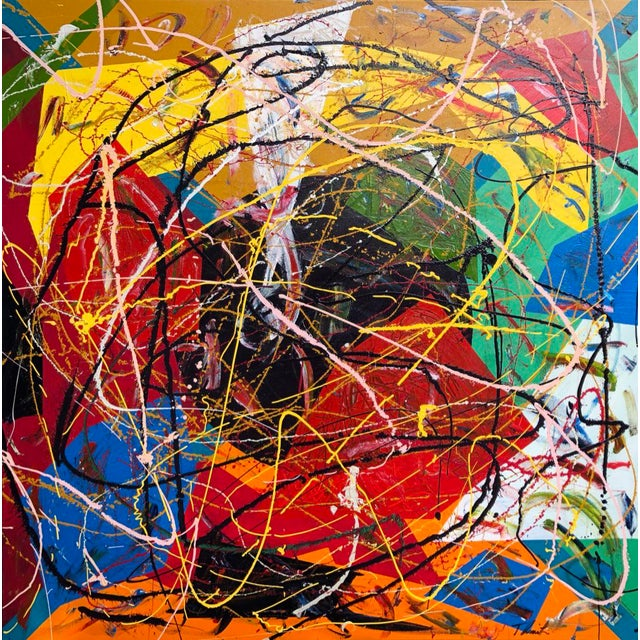 "Acrylic Painting by Artist Troy Smith - 48"" X 48"" Contemporary Art - Abstraction For Sale - Image 13 of 13"
