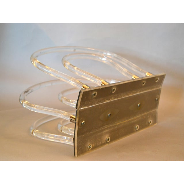 Transparent Dorothy Thorpe Mid-Century Modern Magazine Rack Mirrored Glass, Lucite & Chrome For Sale - Image 8 of 12