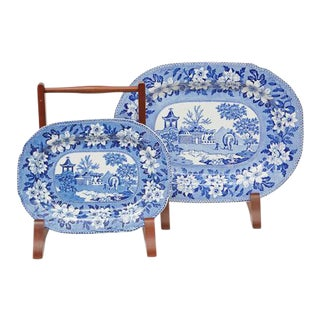 Rogers Elephant Blue & White Platters - Set of 2 For Sale