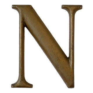Industrial Brass Letter N Wall Hanging, Decor, Marquee, Salvaged Vintage For Sale