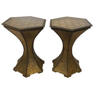 Hexagon Inlaid Gold Brass and Wood Black End/Side Tables - a Pair For Sale