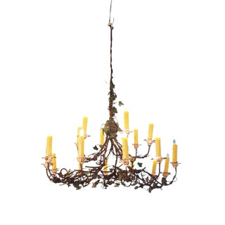 Iron and Tole Ivy Chandelier For Sale
