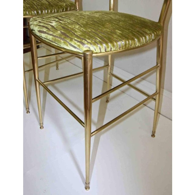 Brass 1950s Italian all Back Brass Chiavari Side Chairs - a Pair For Sale - Image 8 of 11