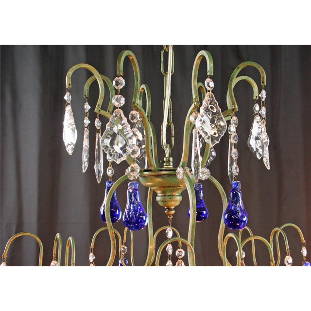 Large Maria Theresa Style 12-Arm Chandelier Blue - Image 4 of 8