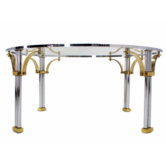 Mid 20th Century Mid-Century Modern Chrome Brass and Glass Round Coffee Table For Sale - Image 5 of 10