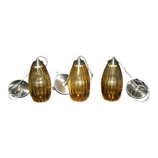 Italian Glass Flute Tech Lighting Pendants - Set of 3 For Sale