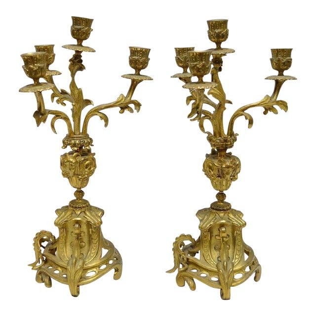 Gilt Bronze 4 Light Candelabras - a Pair For Sale