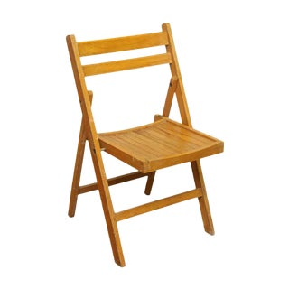 Golden Oak Folding Chair For Sale