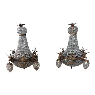 1970s Modern Dark Bronze Stag Chandeliers - a Pair For Sale