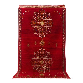 Vintage Mid-Century Moroccan Red Berber Rug - 5'9'' X 10'2'' For Sale