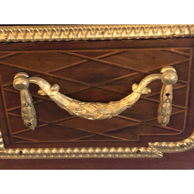 Louis XVI Style Gilt Bronze Parquetry & Marquetry Dressing Table, Desk or Vanity For Sale In New York - Image 6 of 13