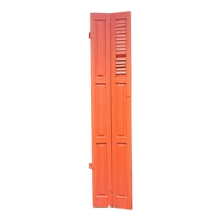 Vintage Cottage Chic Shabby Orange Wood Shutter