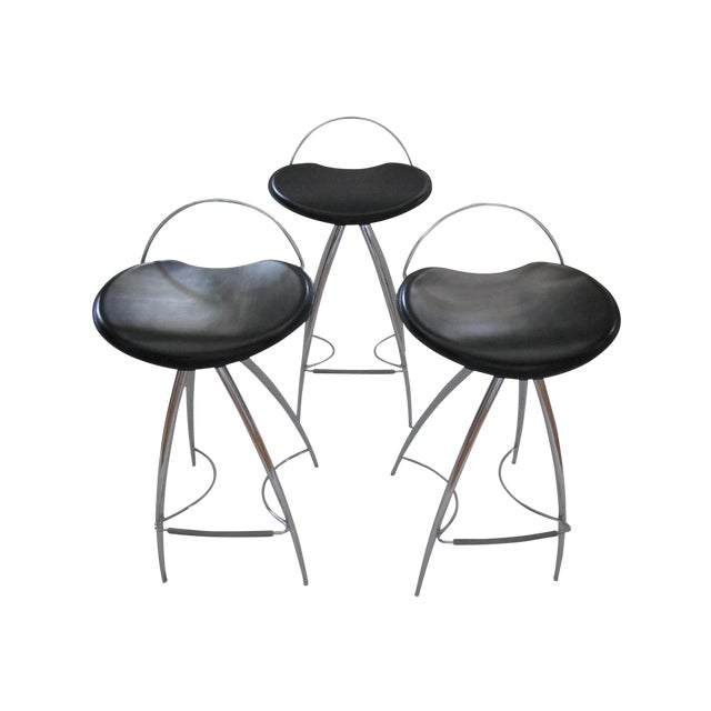 Cattelan Italian Leather Counter Stools- Set of 3 - Image 1 of 9