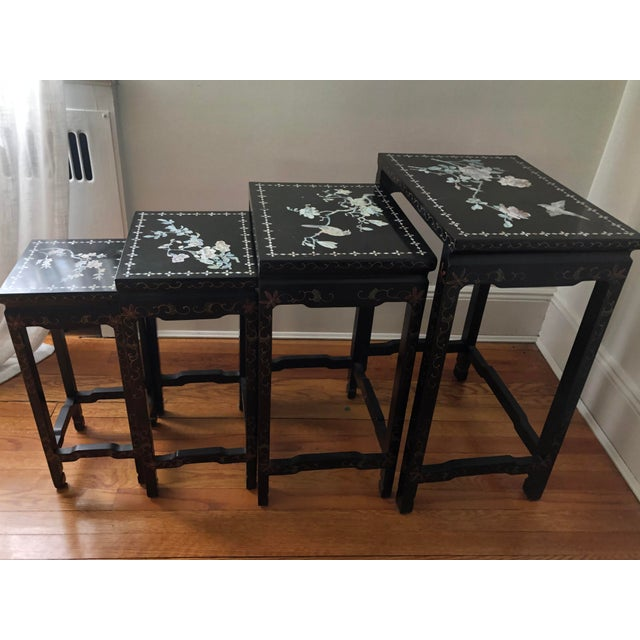 Mid Century Asian Black Lacquer Nesting Tables - Set of 4 For Sale - Image 10 of 13