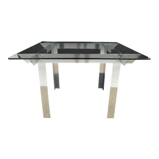 Mid Century Modern Aluminum Metal & Glass Square Dining Table Ginsu Knife 47""