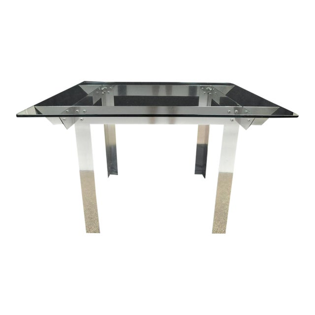 Mid Century Modern Aluminum Metal Glass Square Dining Table Ginsu - Mid century square dining table