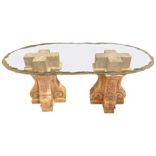 A Neoclassical Double Column Glass Top Lalique Style Center or Dining Table