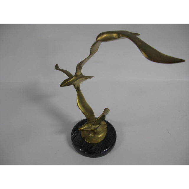Mid-Century Modern Mid-Century Modern Brass and Marble Birds in Flight Sculpture For Sale - Image 3 of 9