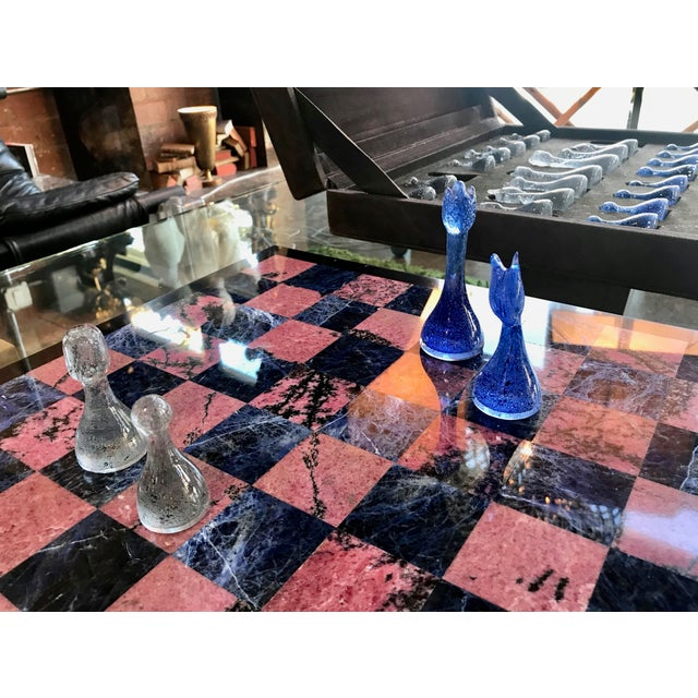 Black Blue Marble and Art Glass Chess Game Set, Italy, Circa 1960s For Sale - Image 8 of 9